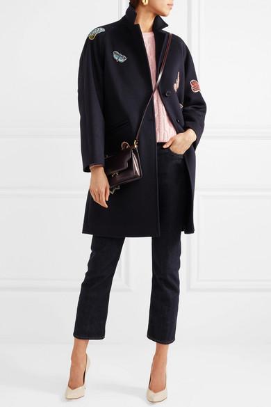 Valentino Mantel aus gefilzter Baumwolle mit Applikationen