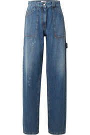 Valentino Distressed high-rise wide-leg jeans