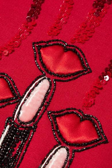 Valentino Kapuzenjacke aus Jersey aus einer Baumwollmischung mit Applikationen und Verzierungen