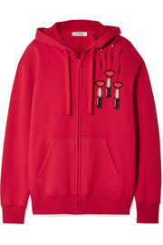 Valentino Embellished appliquéd cotton-blend jersey hooded top