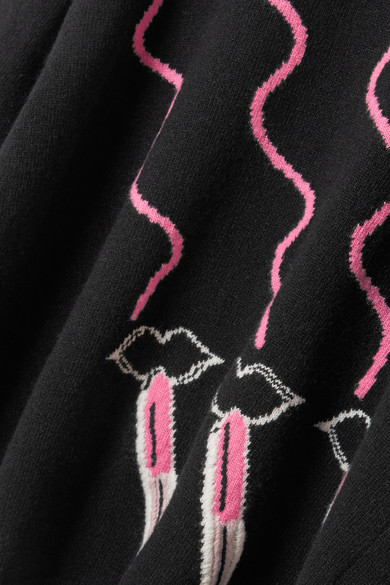 Valentino Pullover aus einer Woll-Kaschmirmischung mit Intarsienmotiv und Stickerei
