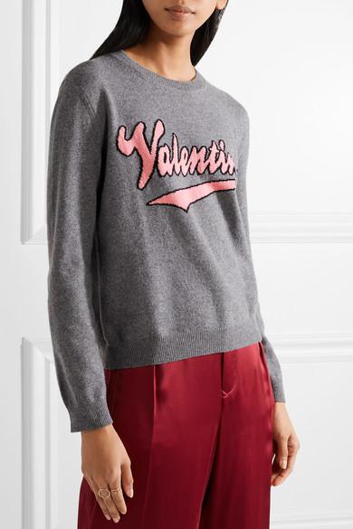 Valentino Pullover aus einer Woll-Kaschmirmischung mit Intarsienmotiv