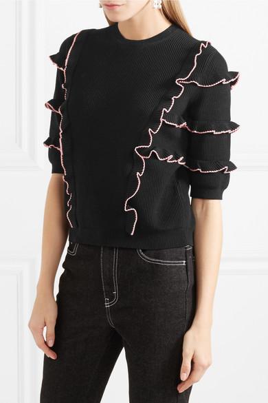 Pullover R眉schen Valentino gerippter Pullover Baumwolle mit mit Valentino aus Baumwolle aus gerippter UqZqP6SY