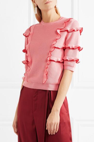Valentino Pullover mit Rüschen aus gerippter Baumwolle