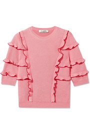 Valentino Ruffled ribbed cotton sweater