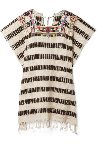 Beaded embroidered wool-blend poncho