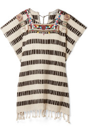 Valentino Beaded embroidered wool-blend poncho