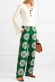 Valentino Printed silk wide-leg pants