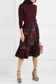 Valentino Lace-trimmed pleated printed silk crepe de chine skirt
