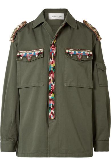 Valentino Verzierte Jacke aus Baumwoll-Gabardine