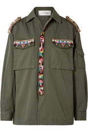 Valentino Embellished cotton-gabardine jacket