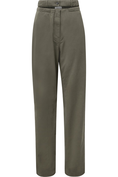 Cotton-twill Straight-leg Pants - Army green Valentino Buy Cheap Footlocker Pictures 81nAa