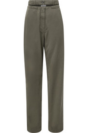 Valentino Cutout cotton-twill straight-leg pants
