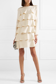Valentino Tiered ruffled silk crepe de chine mini dress