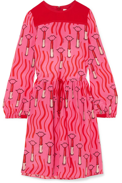 Valentino - Printed Silk Crepe De Chine Dress - Pink