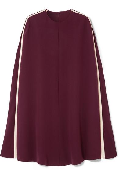 Valentino - Cape-effect Silk-blend Mini Dress - Burgundy