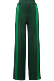 Valentino Belted striped hammered satin-jersey wide-leg pants