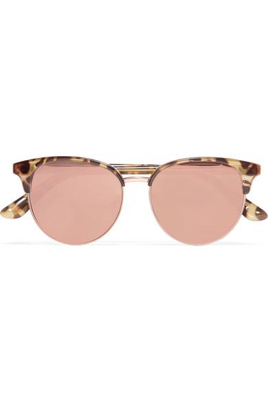 4ee26ed7e6 Le Specs. Déjà Vu cat-eye acetate and rose gold-tone mirrored sunglasses