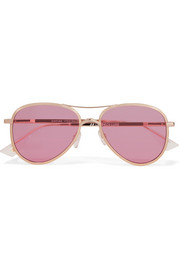 Empire aviator-style rose gold-tone sunglasses