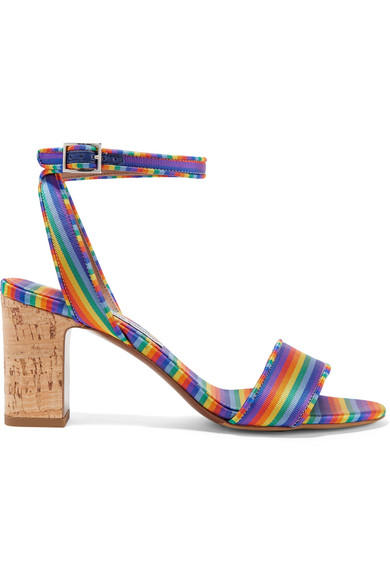 Tabitha Simmons - Leticia Striped Twill Sandals - Blue