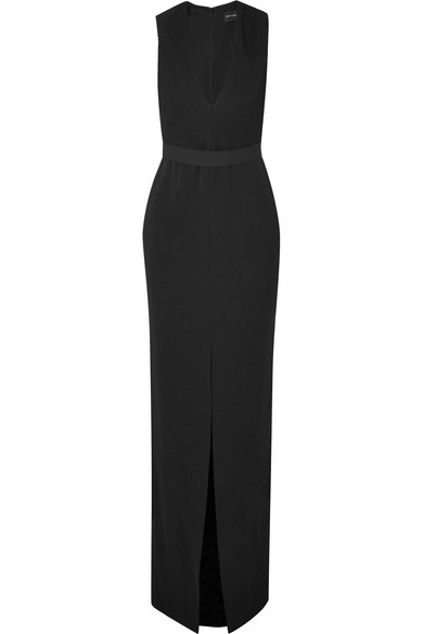 PLUNGING SILK CREPE GOWN