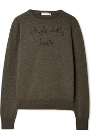 Lingua Franca Whole Lotta Love embroidered cashmere sweater