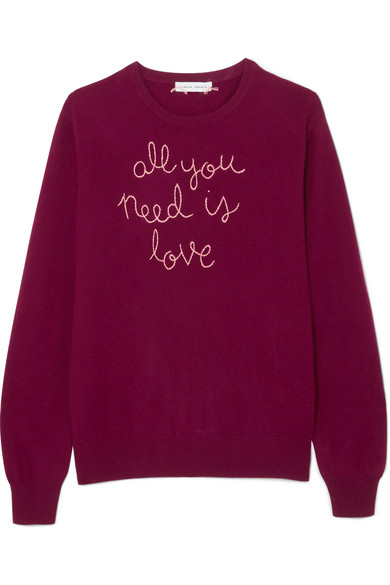 Lingua Franca All You Need Is Love bestickter Kaschmirpullover