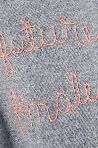 Lingua Franca The Future Is Female Kaschmirpullover mit Stickerei