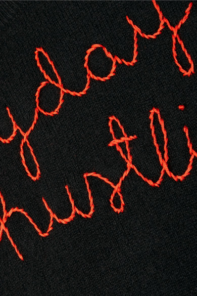 Lingua Franca Everyday I'm Hustlin' bestickter Kaschmirpullover