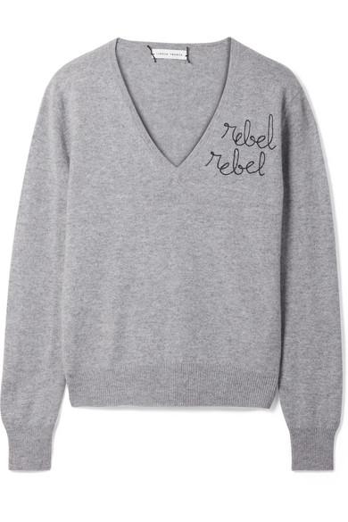 Lingua Franca Rebel Rebel Embroidered Cashmere Knitwear