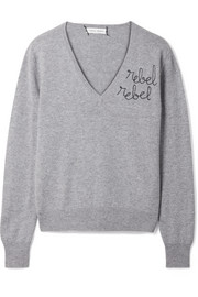 Lingua Franca Rebel Rebel embroidered cashmere sweater