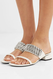 Drum chain-embellished leather sandals