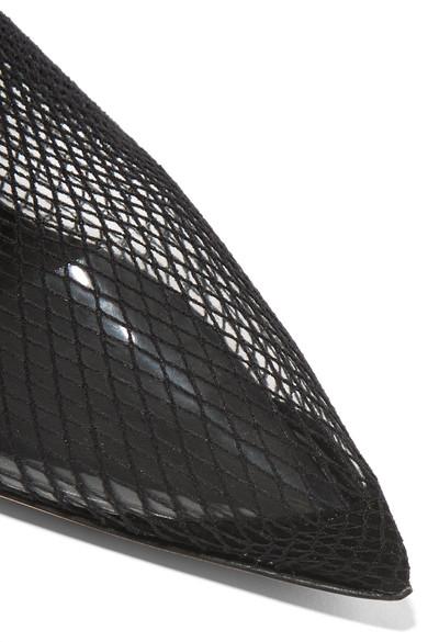 Alexander Wang Caden Sock Boots aus Netzmaterial mit Besätzen aus Leder und Veloursleder
