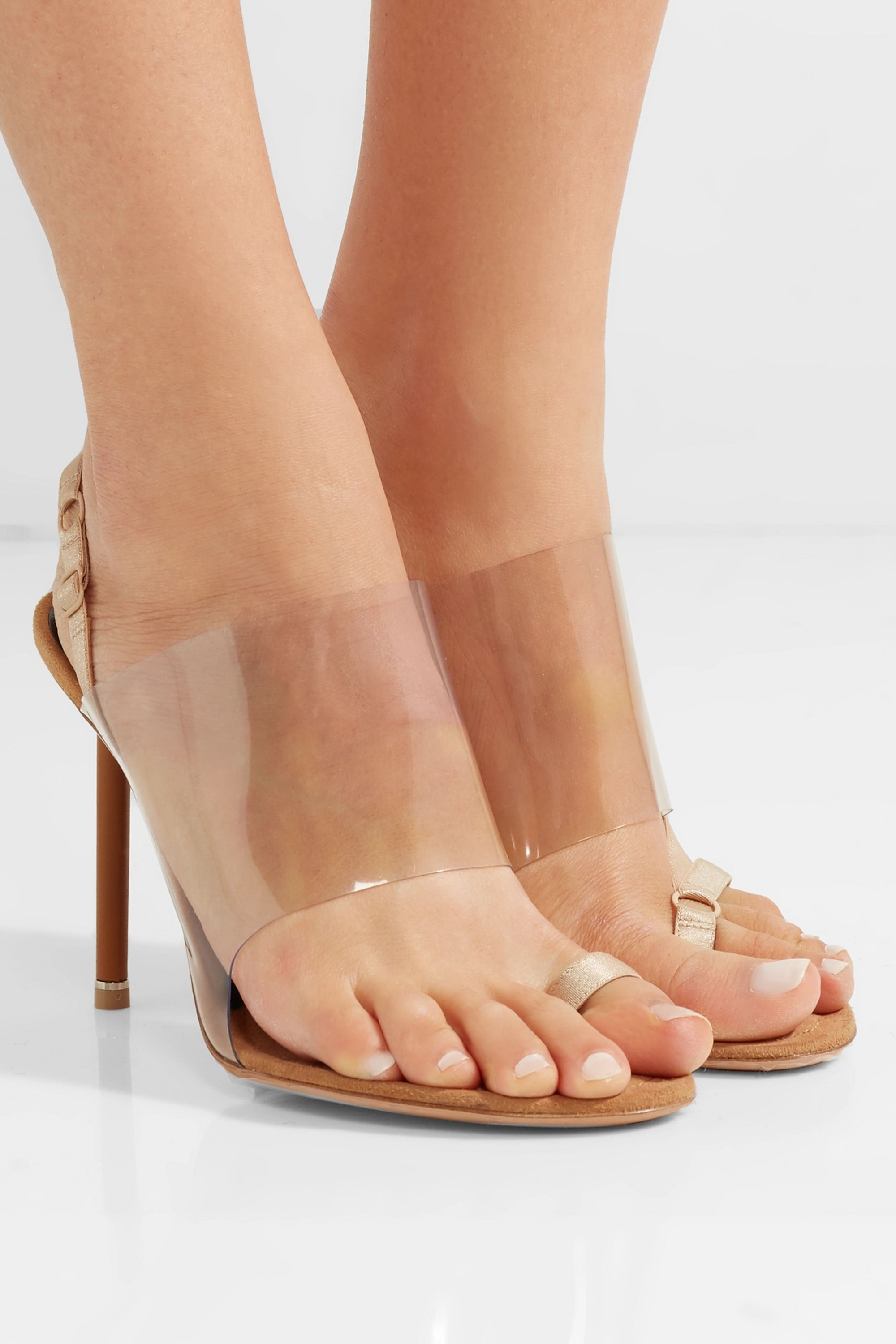Alexander Wang Kaia grosgrain-trimmed suede and PVC slingback sandals