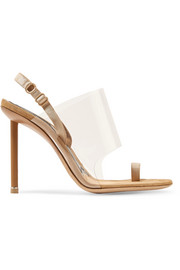 Kaia grosgrain-trimmed suede and PVC slingback sandals