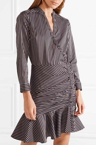 Veronica Beard Kleid aus gestreifter Baumwolle mit Knöpfen