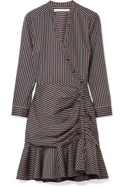 Button-detailed striped cotton dress