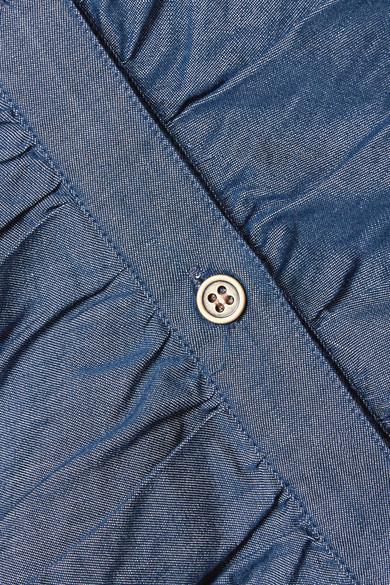 Veronica Beard Minikleid aus Baumwoll-Chambray mit Raffung
