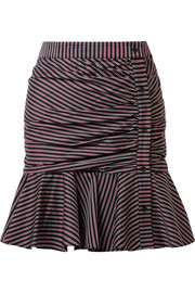 Veronica Beard Ruched striped cotton mini skirt