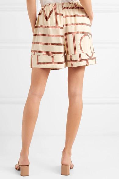 Totême Lansallos bedruckte Shorts aus Seidensatin