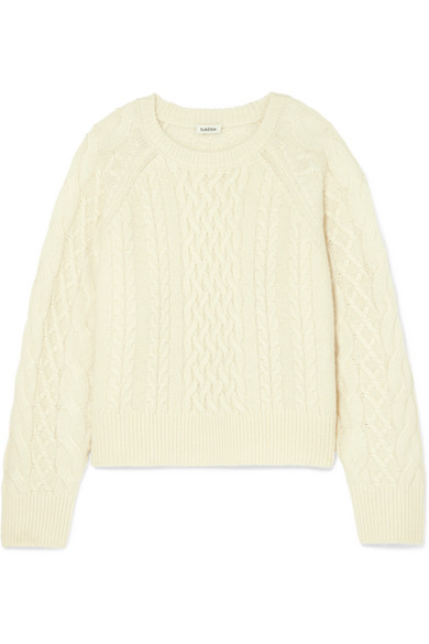 Bergeme Cable Knit Wool Blend Sweater by Totême