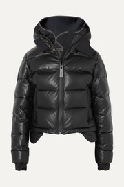 Hooded tech-jersey and quilted leather down jacket