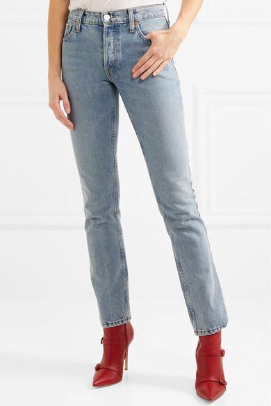 + Cindy Crawford The Crawford High-rise Straight-leg Jeans - Mid denim Re/Done wYaF21nu