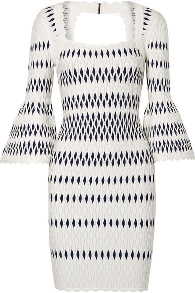 Hervé Léger Kleid aus Jacquard-Strick mit Stretch-Anteil