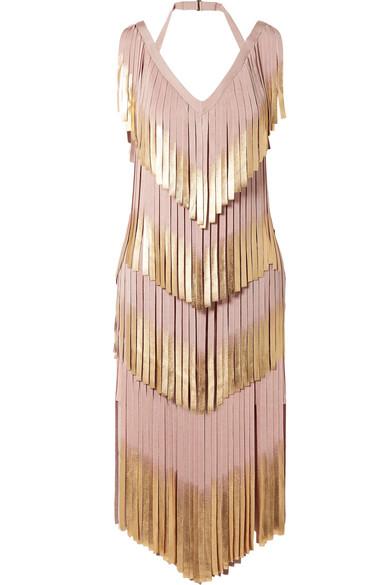 Hervé Léger Kleid aus Metallic-Bandage mit Fransen