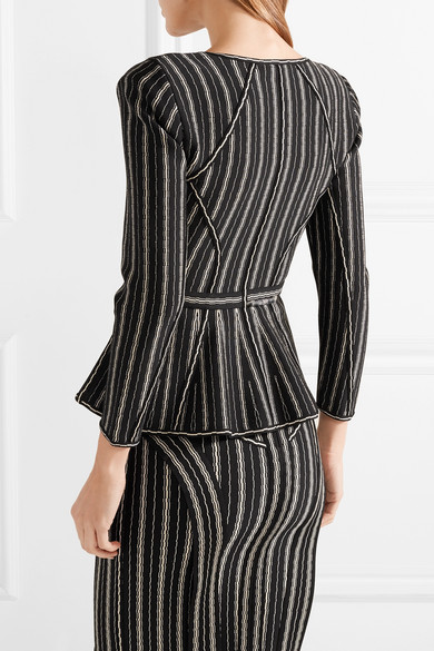 Hervé Léger Delia Striped Jacket In Bandage With Peplum