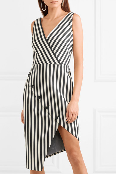 Marceau Asymmetric Striped Cotton-blend Dress - Black Altuzarra tLxEuHCT4S
