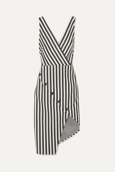 Altuzarra Marceau asymmetrisches Kleid aus einer gestreiften Baumwollmischung