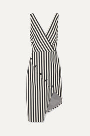 Marceau asymmetric striped cotton-blend dress