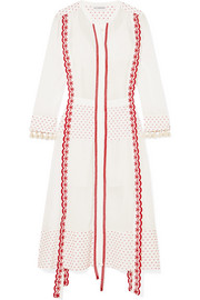 Grenelle broderie anglaise-trimmed Swiss-dot cotton and chiffon midi dress